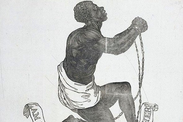 "A woodcut from the 1837 broadside publication of John Greenleaf Whittier's antislavery poem, ""Our Countrymen in Chains."""