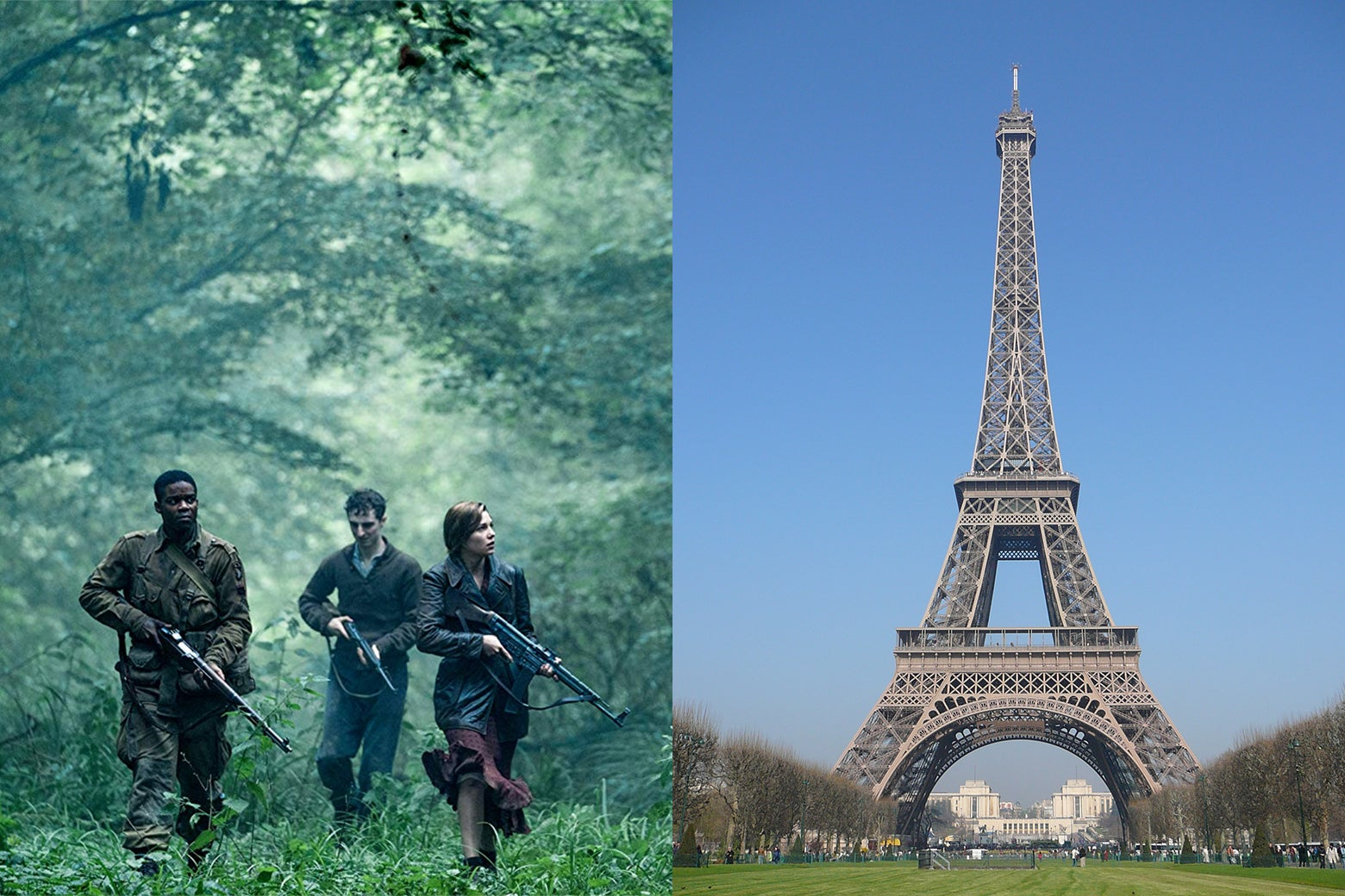 Soldiers walking through a forest from Overlord, paired with an image of the Eiffel Tower.
