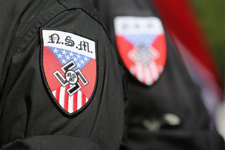 A shoulder patch with a swastika