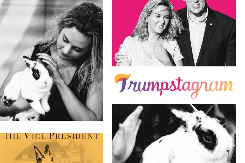 Photo illustration: A collection of images of Charlotte Rose Pence with Marlon Bundo, the Pence family rabbit, in the stylized logo for the Trumpstagram pop-up blog.