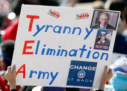 "Tea Party sign reading ""Tyranny Eliminatino Army"". Click image to expand."