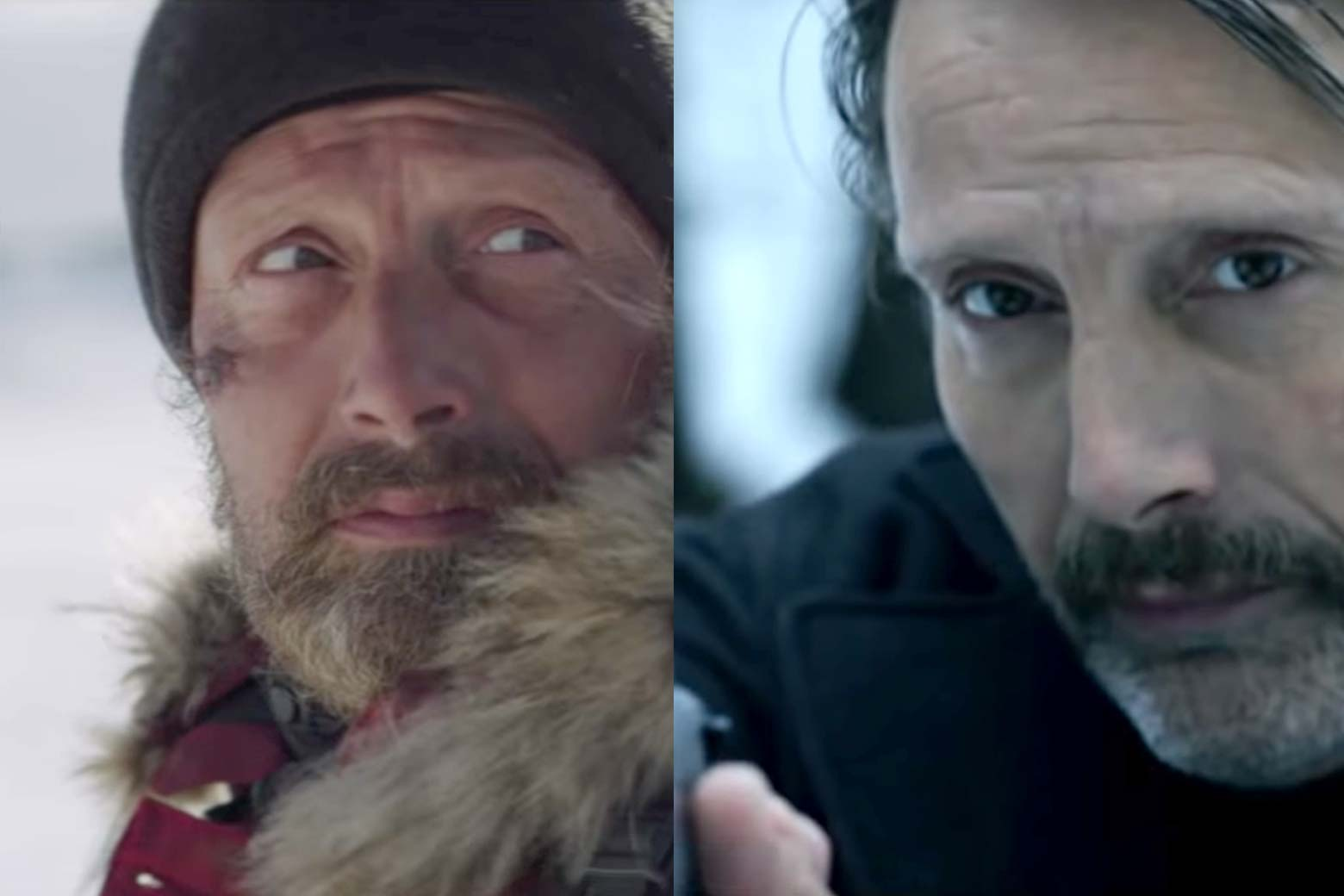 Mads Mikkelsen wears a hat and beard in Arctic. Mads Mikkelsen holds a gun in Polar.