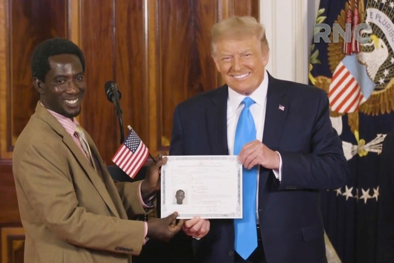 Donald Trump holds a certificate with an American flag alongside a newly inaugurated citizen.