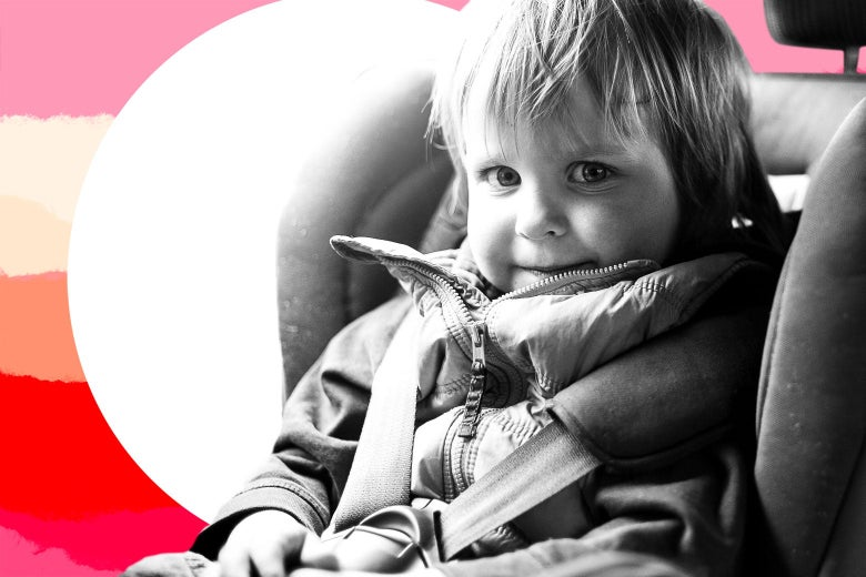 Photo illustration of a child in a car seat