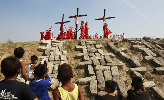 Penitents being crucified in the Phillippines on Good Friday.