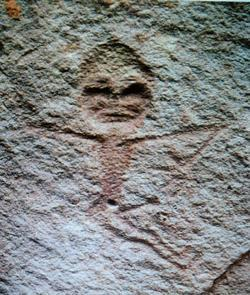 Close-up of figure from petroglyphs in Hutubei, Xinjiang province, China.