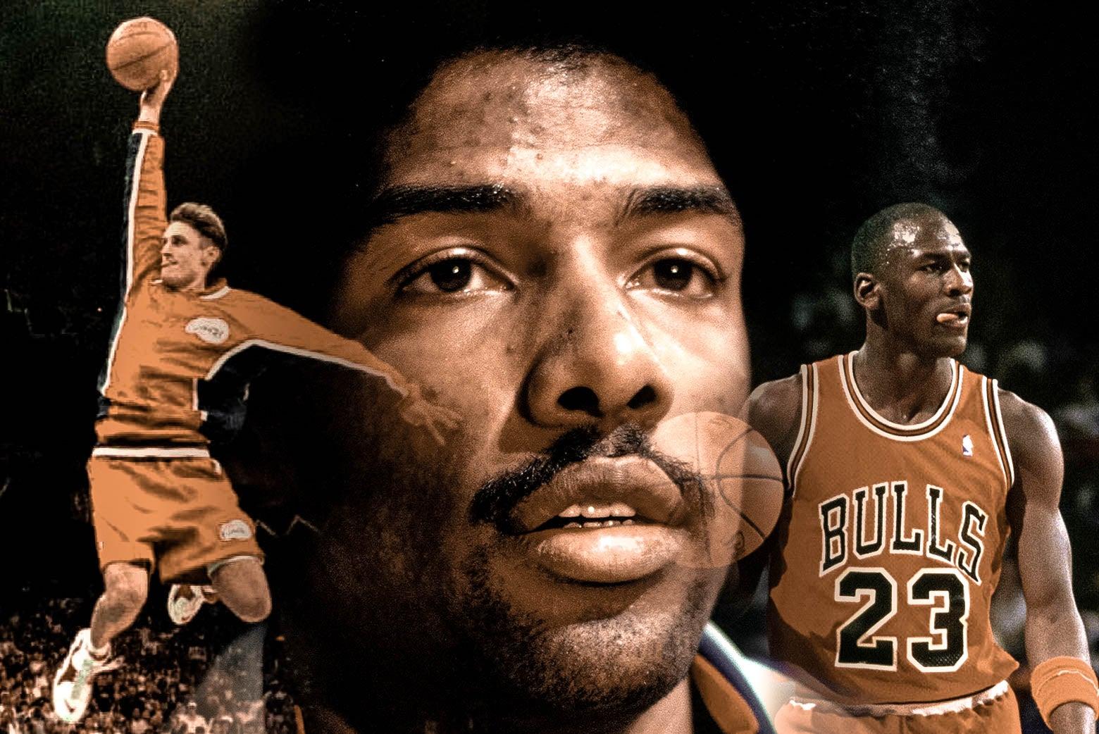 "A collage of Brent Barry, Julius ""Dr. J"" Erving, and Michael Jordan."