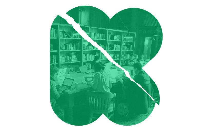 The Kickstarter logo, broken, with an image of the Kickstarter office inside it.