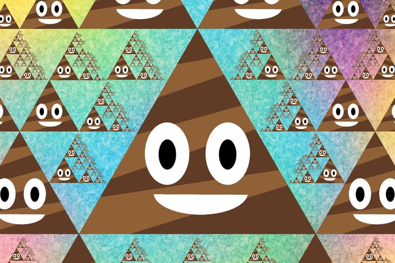 Smiling triangular poop images in a repeating pattern.