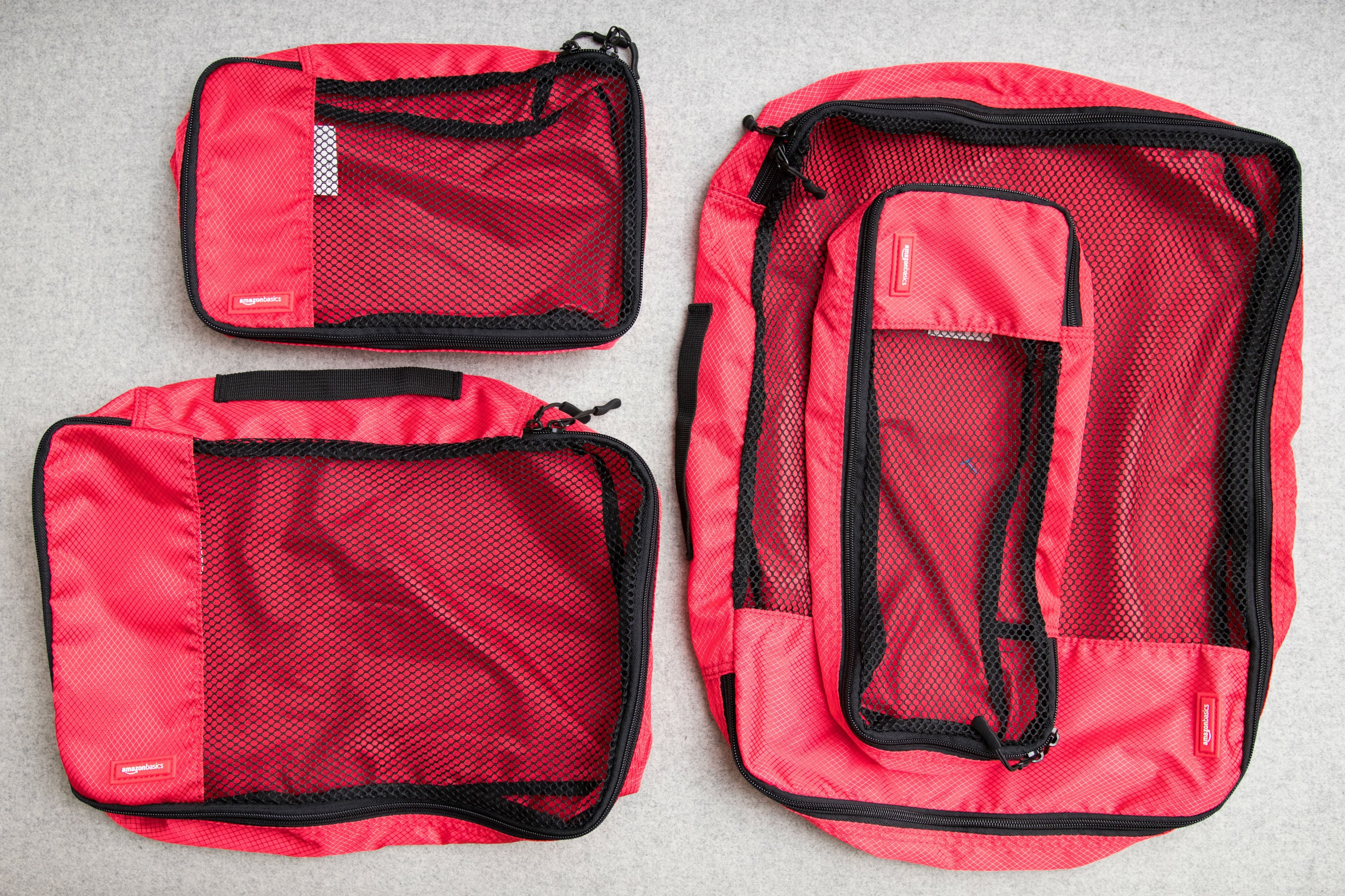 AmazonBasics packing cubes photographed from overhead