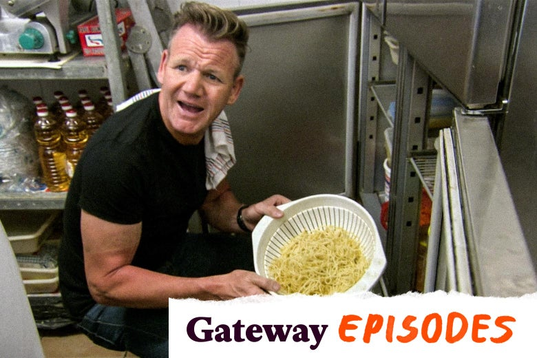 "A perturbed-looking Gordon Ramsay holds a strainer of pasta as he squats in a stainless steel pantry. In the lower right corner, a tearaway label reads: ""Gateway Episodes."""