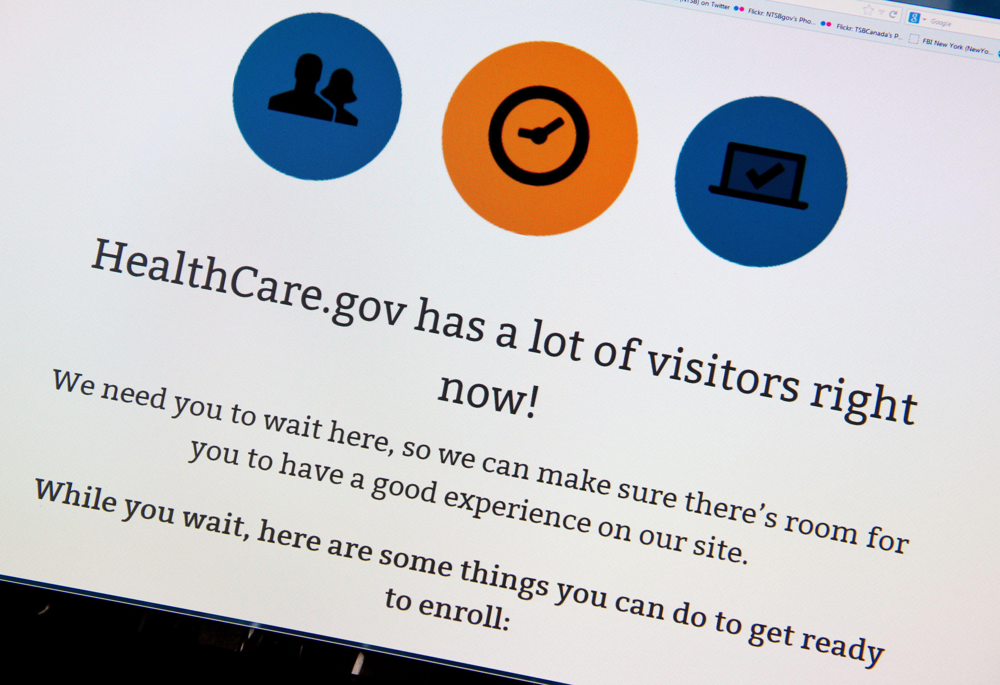 A waiting page on healthcare.gov