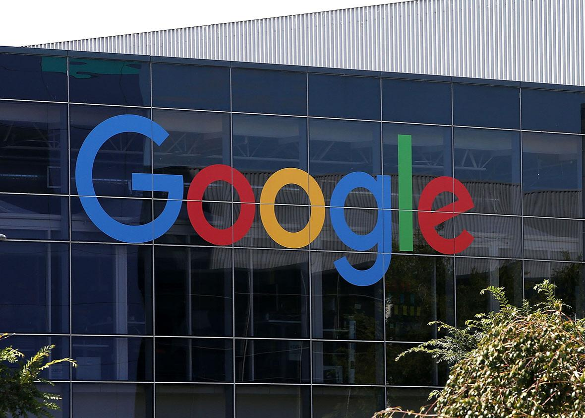 The new Google logo is displayed at the Google headquarters on September 2, 2015 in Mountain View, California.
