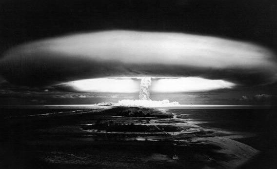 A nuclear test explosion at Mururoa, Tuamotu Archipelago, French Polynesia, southern Pacific, circa 1971.