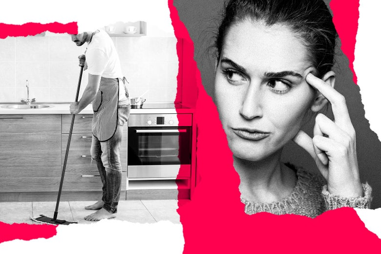 A man mops the kitchen floor. A woman looks annoyed.