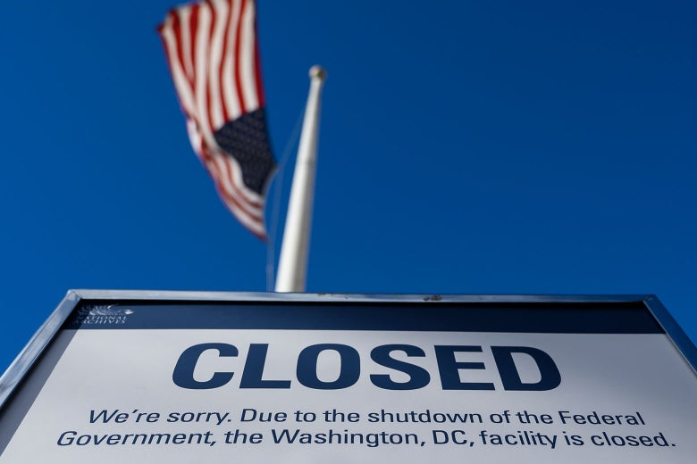 A sign is displayed on a government building in D.C. that is closed due to the partial U.S. government shutdown, on Dec. 22.