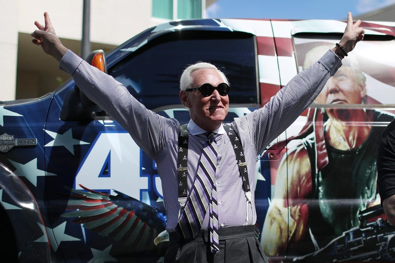 Roger Stone arrives for the Conservative Political Action Conference held in the Hyatt Regency on February 27, 2021 in Orlando, Florida.