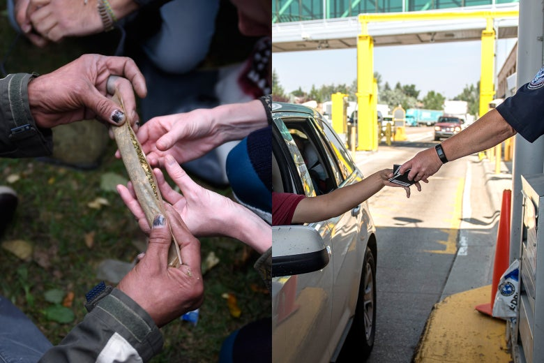 People rolling a large joint in Toronto and a man showing his passport at the Canadian border