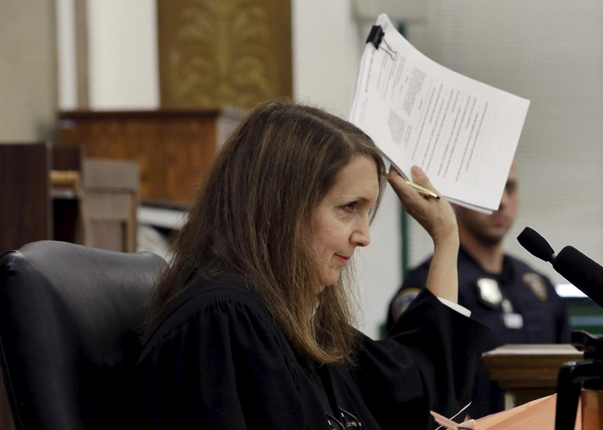 Judge Barbara Jaffe presides in New York State Supreme Court where attorney Steven Wise (not pictured), President of the animal rights group Nonhuman Rights Project, was arguing a case in the Manhattan borough of New York City May 27, 2015.