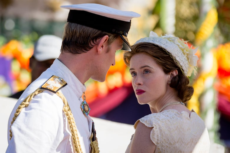 Matt Smith and Claire Foy stare into each others' eyes, not smiling, in The Crown.