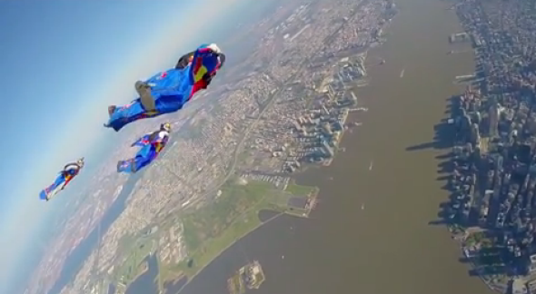 Wingsuit Skydivers Soar Over Lower Manhattan