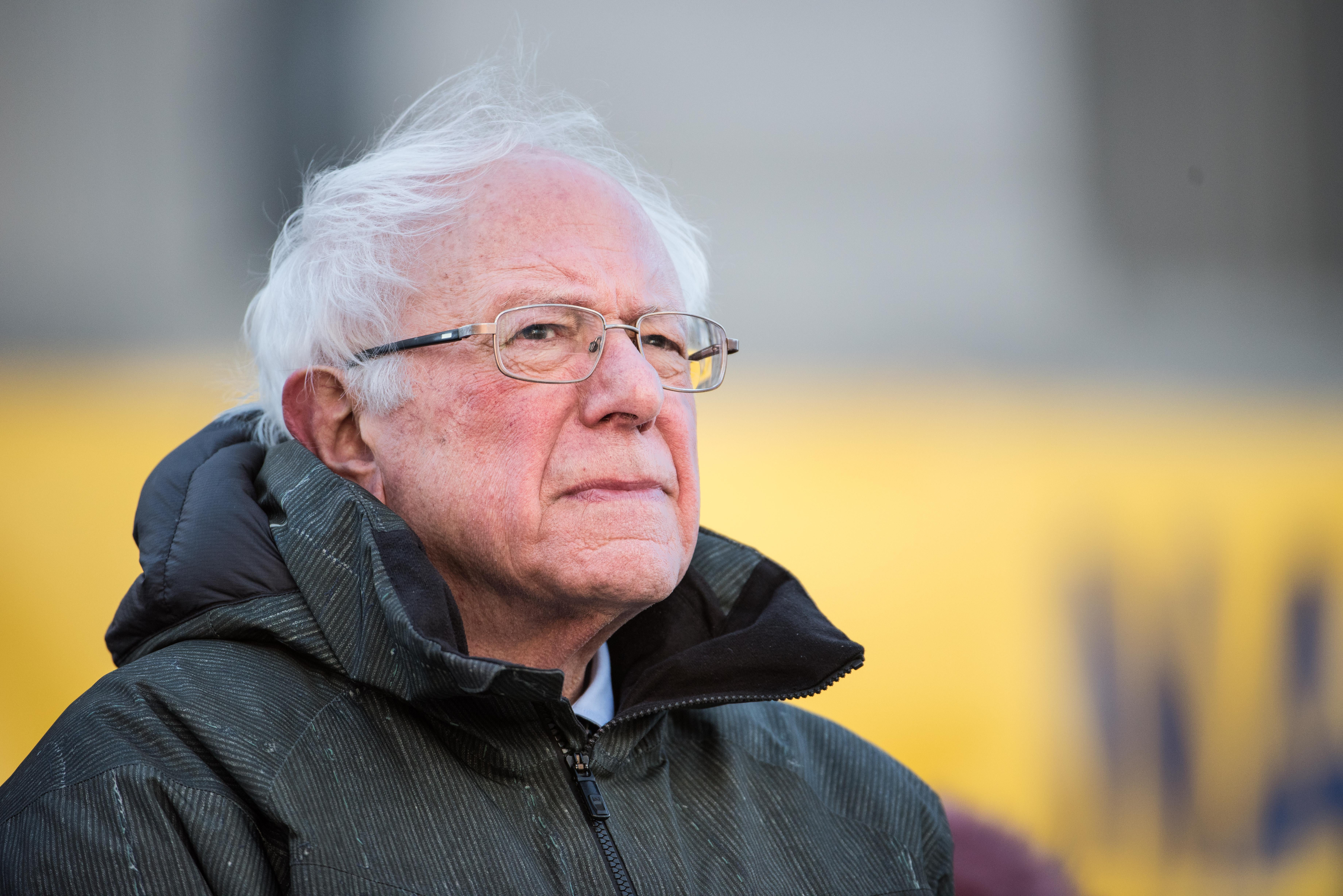 COLUMBIA, SC - JANUARY 21: U.S. Sen. Bernie Sanders (I-VT) stands on the statehouse steps during the annual Martin Luther King Jr. Day at the Dome event on January 21, 2019 in Columbia, South Carolina. Fellow potential Democratic presidential candidate, Sen. Cory Booker (D-NJ) joined Sanders at the event. (Photo by Sean Rayford/Getty Images)