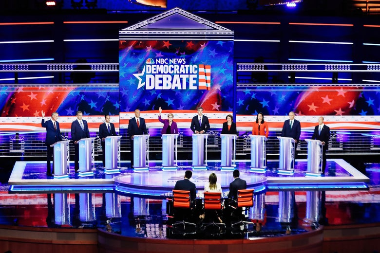 Candidates respond to a question from the moderators on Night 1 of the 2020 Democratic Primary debates in Miami on Wednesday.