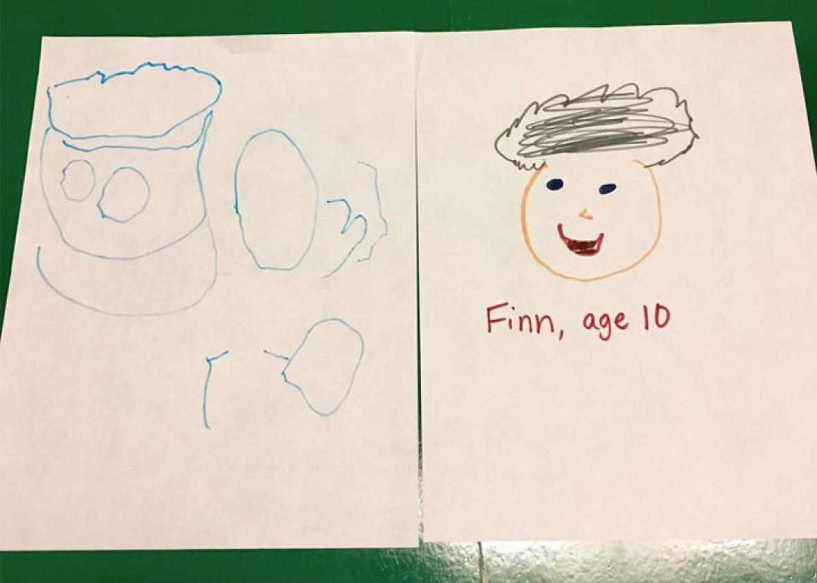 Oscar, age 4 & Finn, age 10. Both drew old men. Or maybe Oscar drew a Terrance & Philip guy. Not sure.