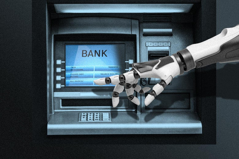 Photo illustration of a robot using an ATM