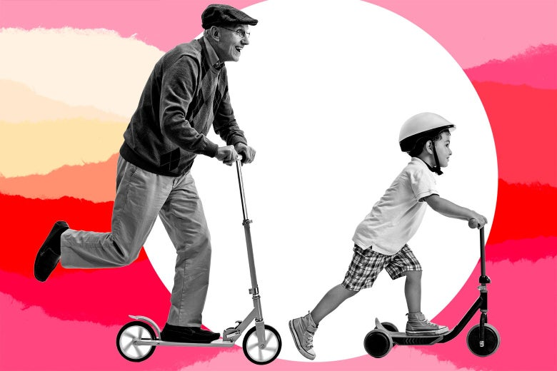 Photo illustration of an elderly man riding a scooter and a toddler riding a scooter.