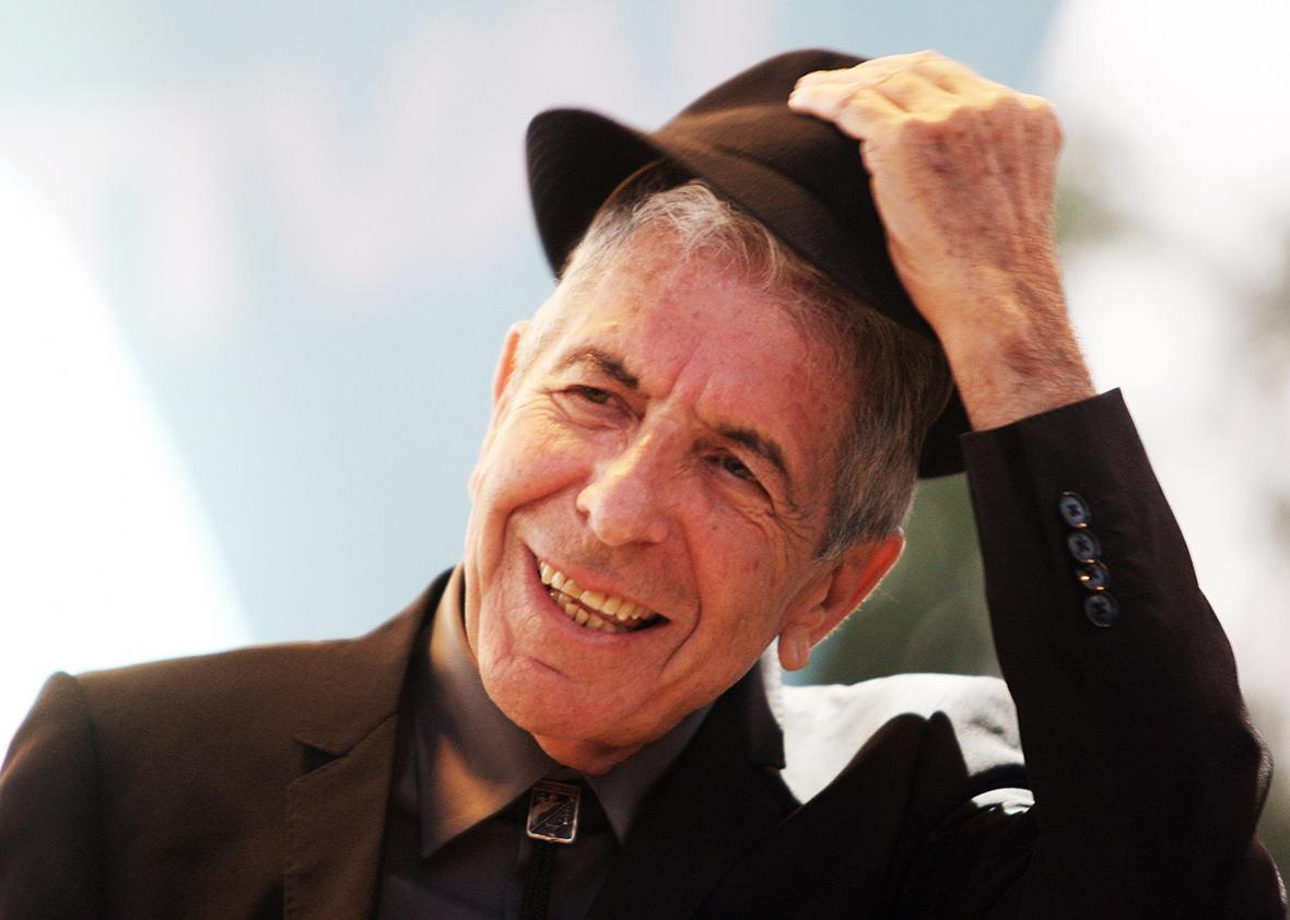 Canadian singer Leonard Cohen performs during the Nice Jazz Festival, on July 22, 2008 in Nice, southern France.
