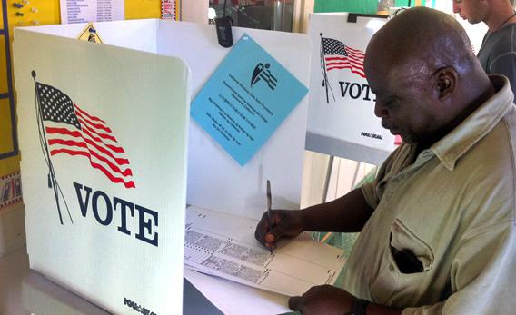 Norman Williams voting in Tuesday's election. He received a life sentence for a series of petty thefts and burglaries but was released in 2009.