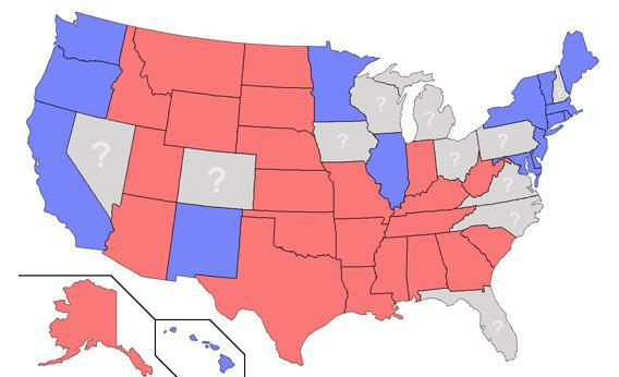 Electoral map showing undecided states.