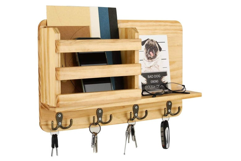 Wooden wall-mounted mail organizer with hooks for keys