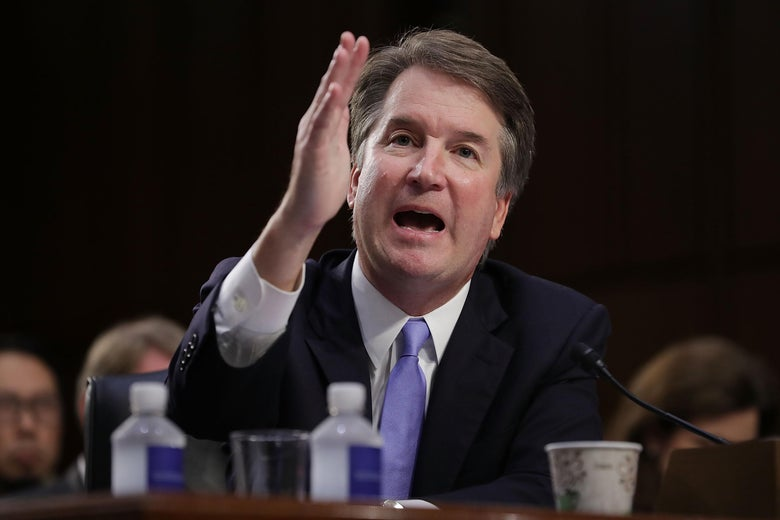 Brett Kavanaugh gesturing during his testimony for confirmation to the Supreme Court