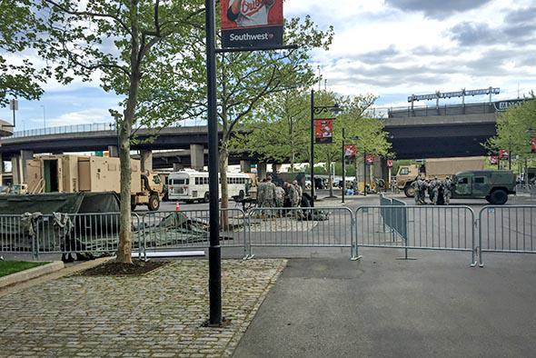 The National Guard outside an empty Oriole Park at Camden Yards on April 29, 2015 in Baltimore, Maryland.