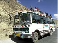 The rules banning riding on top of buses were relaxed for the event