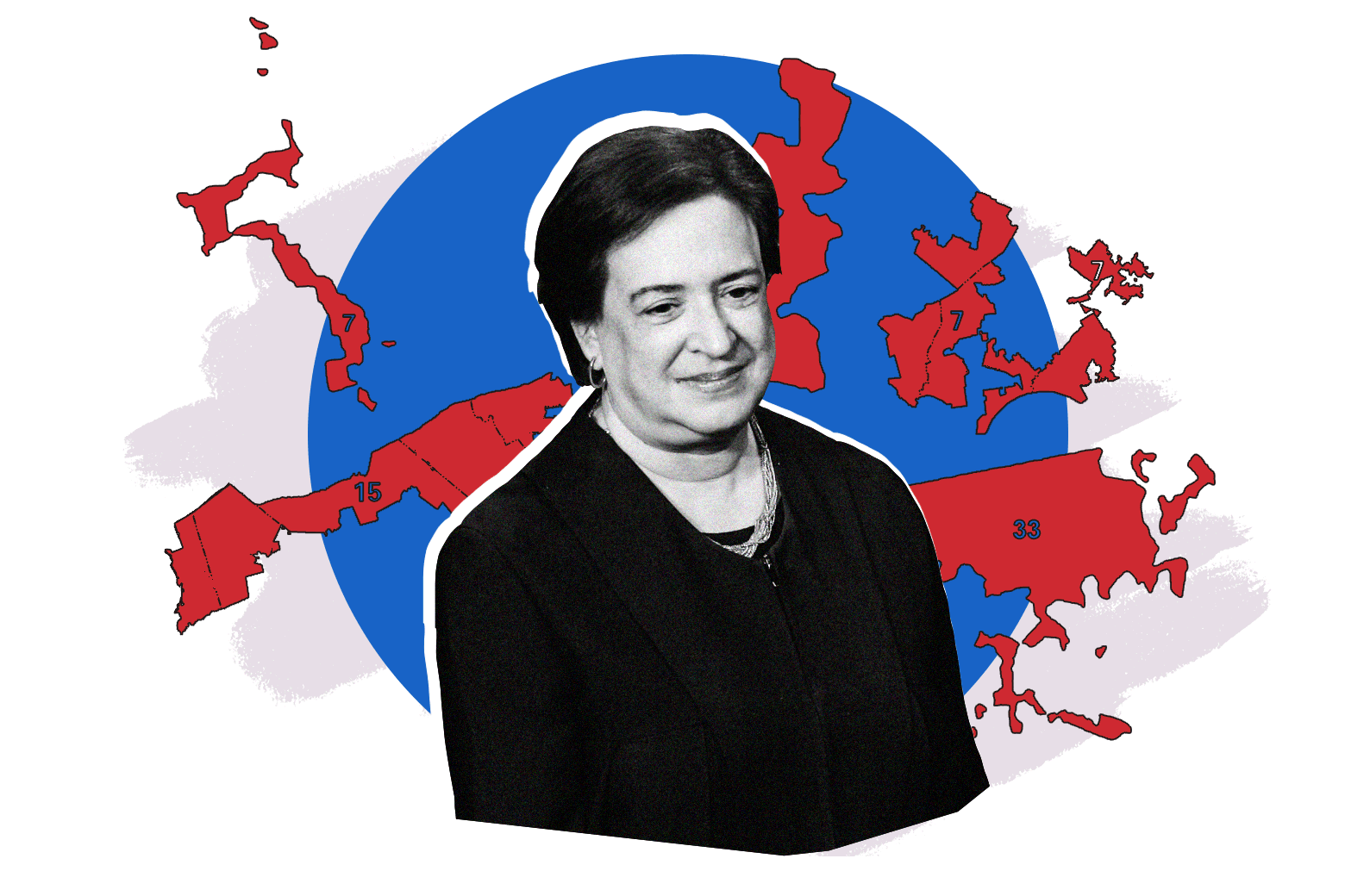 Elena Kagan in front of some mapped congressional districts