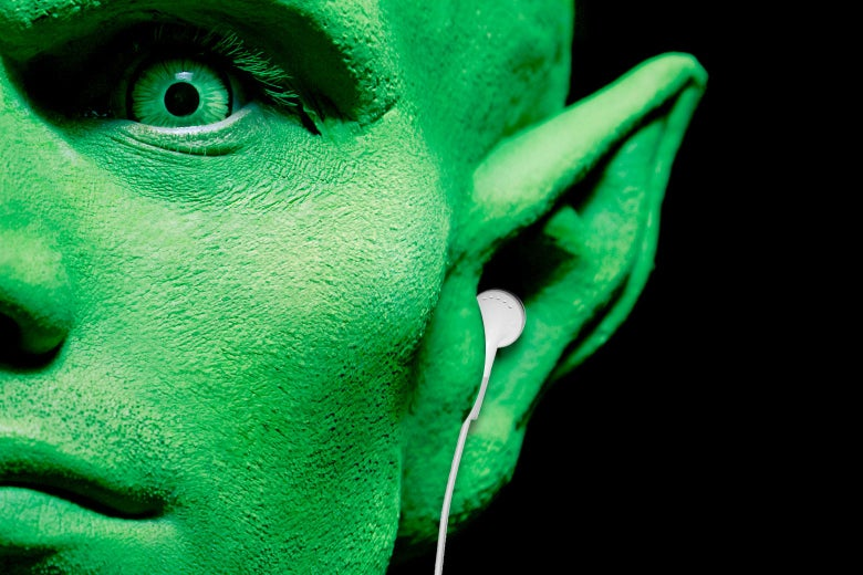 Photo illustration of an alien wearing headphones.