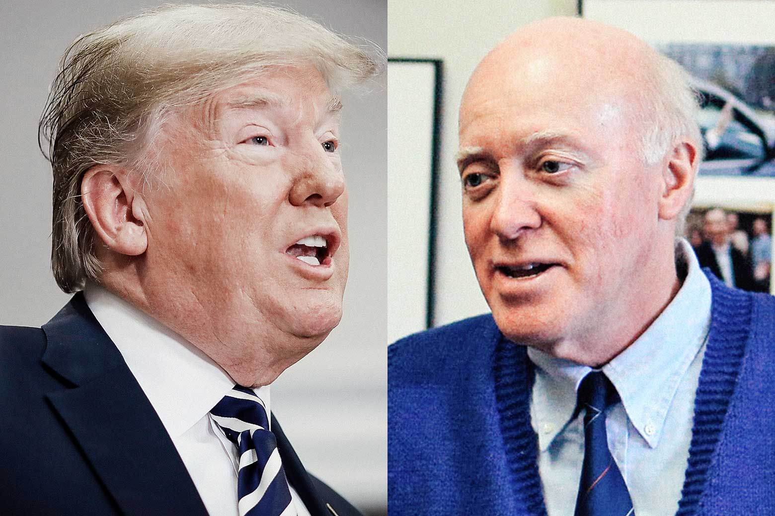 U.S. President Donald Trump and New Hampshire Secretary of State Bill Gardner.