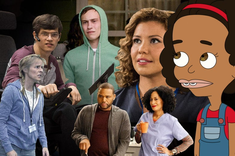 Stills from One Day at a Time, Black-ish, plus some combo of The Bold Type, Big Mouth, Speechless, Atypical, and Lady Dynamite.
