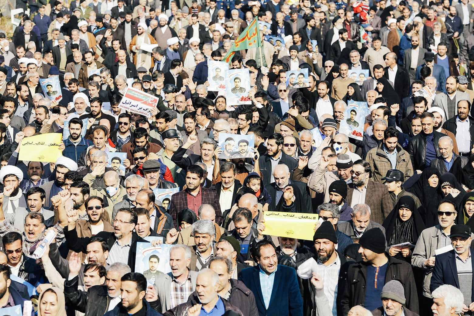 Iranian pro-government protesters take part in a march held after the weekly Friday prayers in central Tehran on Jan. 5.