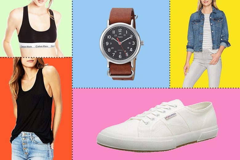 Collage of various fashion products, including a watch, white sneakers, and denim jacket.