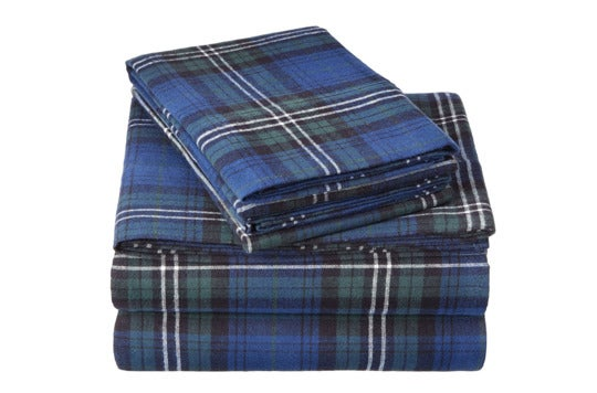Plaid Pinzon velvet flannel sheet set.