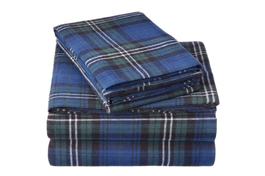 Plaid Pinzon velvet flannel sheet set.