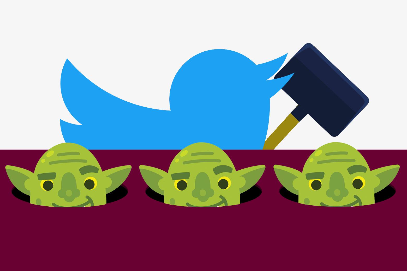 A Twitter bird playing whack-a-troll.