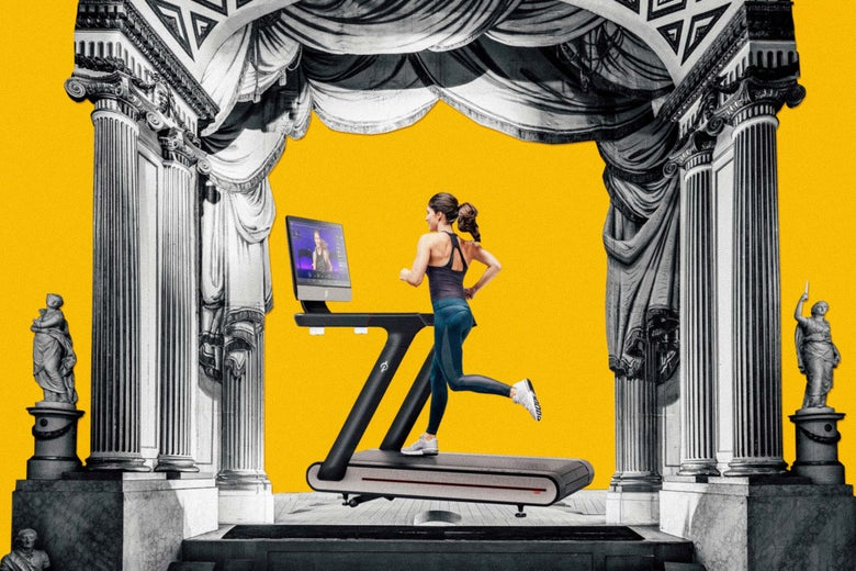 Photo illustration of a woman jogging on a Peloton Tread on a stage with columns.