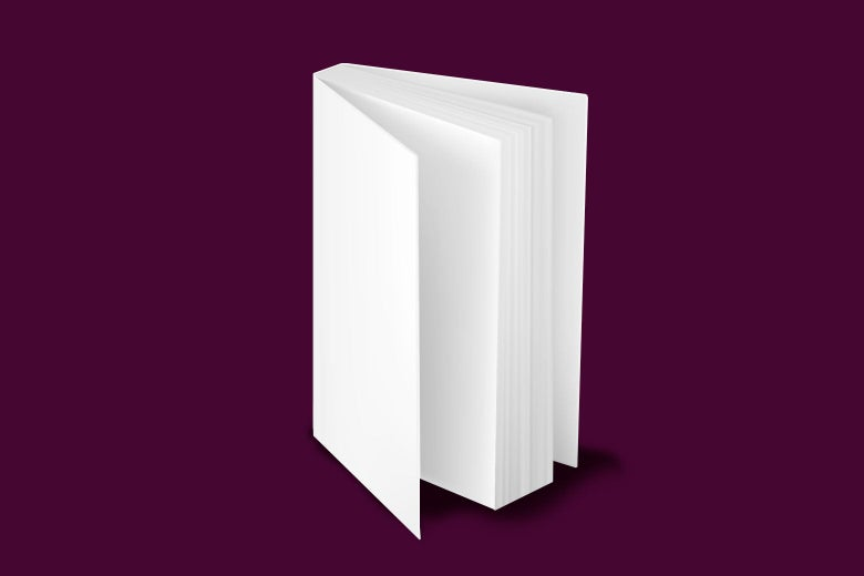 A totally blank book standing up slightly open