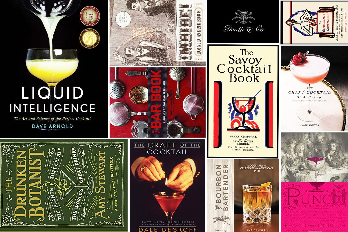 Collage of various cocktail books.