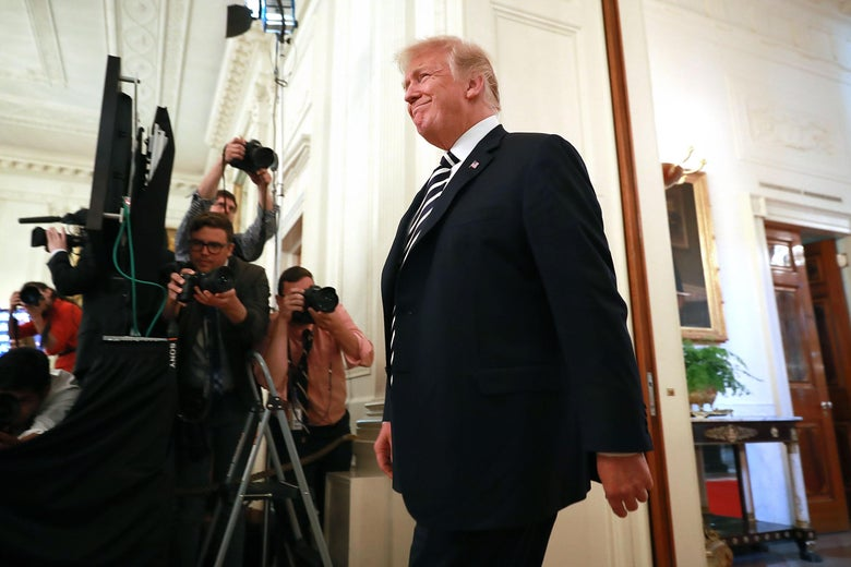 WASHINGTON, DC - MAY 02:  U.S. President Donald Trump walks into the East Room for the award ceremony for National Teacher of the Year Mandy Manning at the White House May 2, 2018 in Washington, DC. Manning is a math and English teacher at Newcomer Center at Joel E. Ferris High School in Spokane, Washington, and works with refugee and immigrant students.  (Photo by Chip Somodevilla/Getty Images)